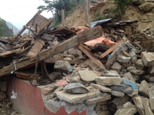 Rubble from the earthquake in Nepal