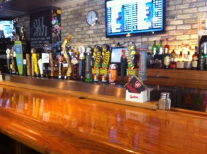 The many craft beers on tap at Milos' Craft Beer Emporium