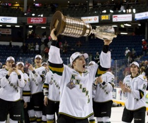 Marner hoists the J. Ross Robertson Cup