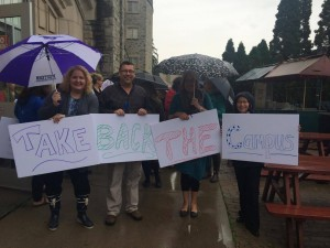 University staff coming together against sexual violence abuses.