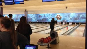 Kangnam University students practice bowling.